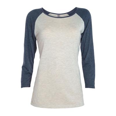 Platinum P508T Women's Delta 3/4 Sleeve Raglan Top in Oatmeal Heather/Navy Blue Heather size 2X