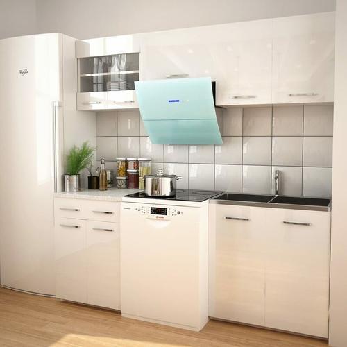 5-tlg. Küchenzeile Set mit Dunstabzugshaube Hochglanz Wei?