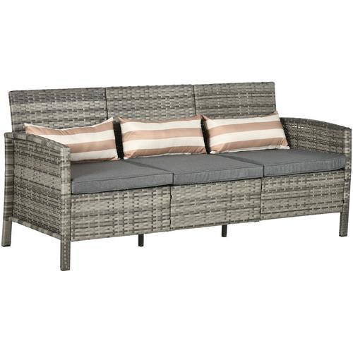 Outsunny® Rattan Sofa Outdoor Dreisitzer Garten Loungesofa mit Kissen Stahl Grau - grau