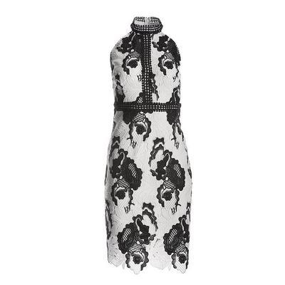 Boston Proper - High Neck Lace Sheath Dress - Black/white - 10