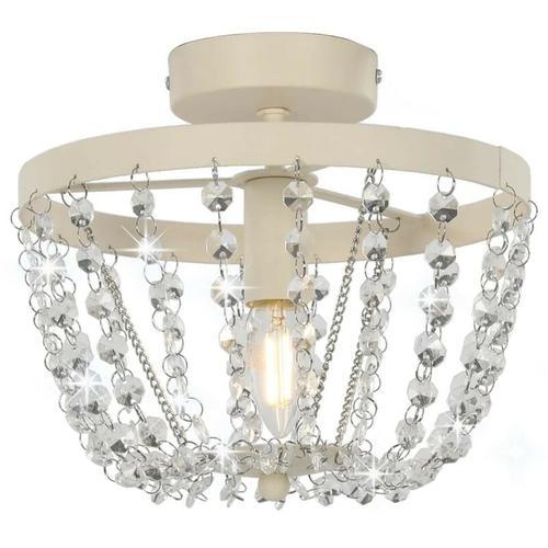 Deckenleuchte mit Kristallperlen Weiß Rund E14 23182 - Topdeal
