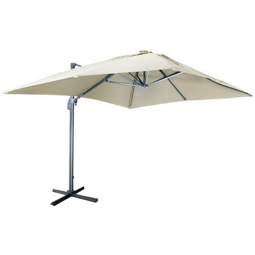 Qualitativ hochwertiger rechteckiger LED-Solar- Sonnenschirm 3 x 4 m - Luce Beige - kippbar,