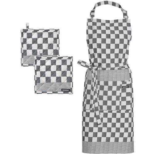 DDDDD Kochschürze Barbeque, (Set, 3 tlg., bestehend aus 1x + 2x Topflappen) schwarz Küchenschürze und Kochen Backen Haushaltswaren