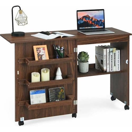 2 in 1 Naehschrank und Schreibtisch, Naehtisch klappbar, Naehmaschinentisch rollbar,