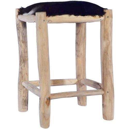 Vidaxl - Barhocker Echtes Ziegenfell und Teak Massivholz