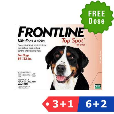 Frontline Top Spot Extra Large Dogs 89-132lbs (Red) 4 + 2 Pipette Free