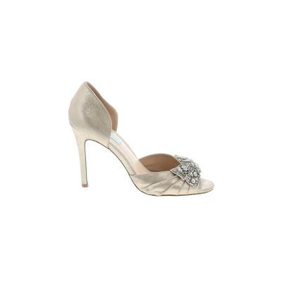 Betsey Johnson Heels: Silver Solid Shoes - Size 8