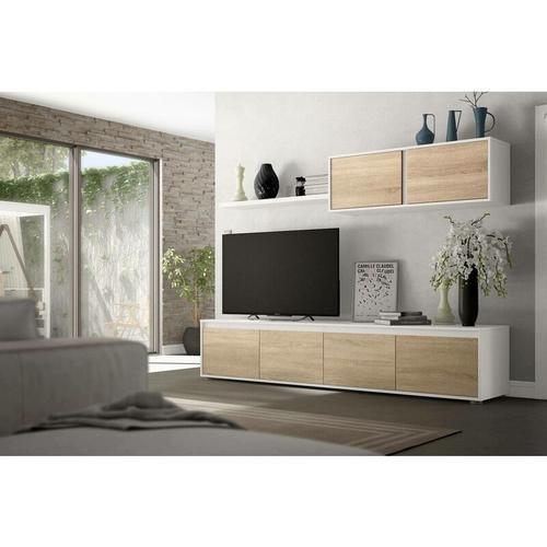 Wohnzimmer TV-Schrank, Farbe kanadische Eiche und arktik Weiß, 43 x 200 x 41 cm - Dmora