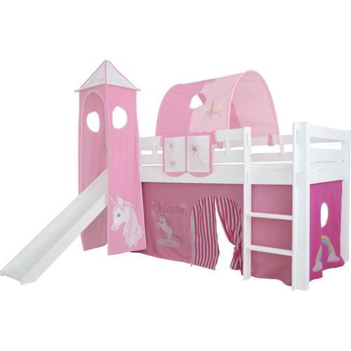Mobi Furniture - Vorhang 3-teilig 100% Baumwolle Stoffvorhang Bettvorhang inkl Klettband für