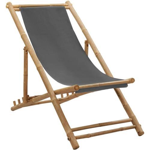 Vidaxl - Liegestuhl Bambus und Segeltuch Dunkelgrau