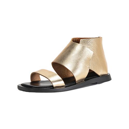 INUOVO Schaftsandalette Leder goldfarben Damen Sandaletten Sandalen