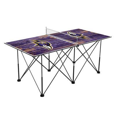 Baltimore Ravens 6' Weathered Design Pop Up Table Tennis Set