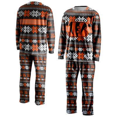 Men's FOCO Black Cincinnati Bengals Ugly Pajama Set