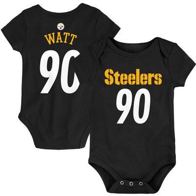 Newborn Pittsburgh Steelers T.J. Watt Black Mainline Player Name & Number Bodysuit