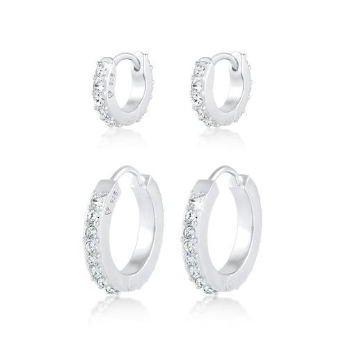 Ohrringe 2Er Set Creolen Kristalle 925 Silber Elli Silber