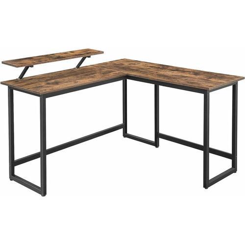 VASAGLE Schreibtisch, L-förmiger Computertisch mit beweglichem Monitoraufsatz, Eckschreibtisch,