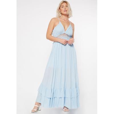 Rue21 Womens Light Blue Floral Open Back Crochet Maxi Dress - Size Xs