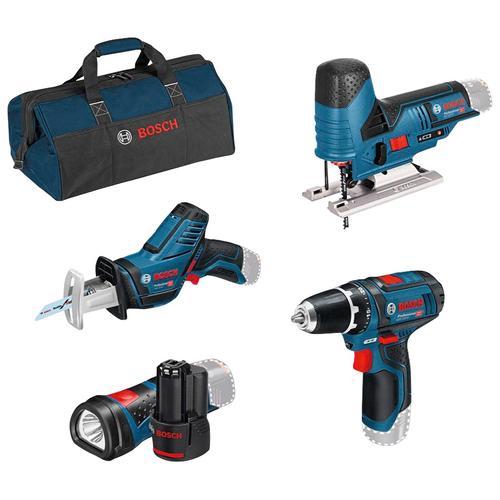 Bosch Professional Akku-Schrauber, mit 3 Werkzeugen, Akkus, Ladegerät und Werkzeugtasche blau Akkuschrauber Werkzeug Maschinen Akku-Schrauber