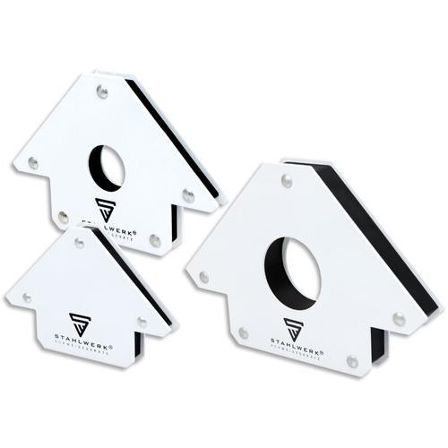 STAHLWERK 3 × Magnet-Schweißwinkel Magnetwinkel Schweißmagnet 45° x 90° x 135°, 11,3 + 22,6 + 34 kg