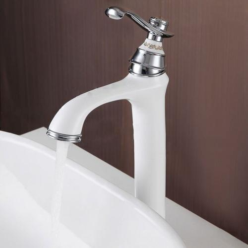 Erhöhter Waschtisch-Wasserhahn Vintage-Stil Chrom Weiß