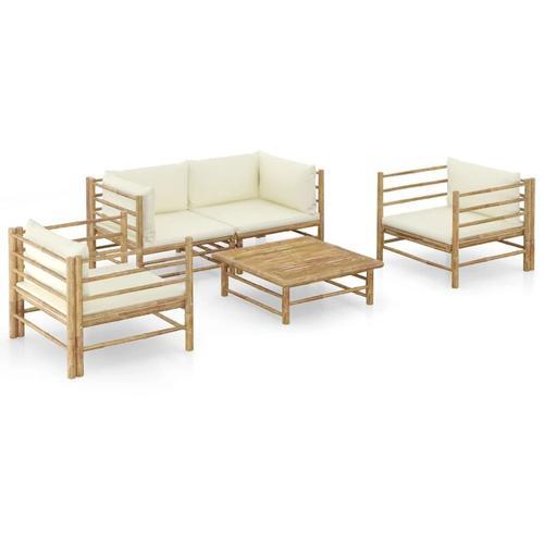5-tlg. Garten-Lounge-Set mit Cremeweißen Kissen Bambus