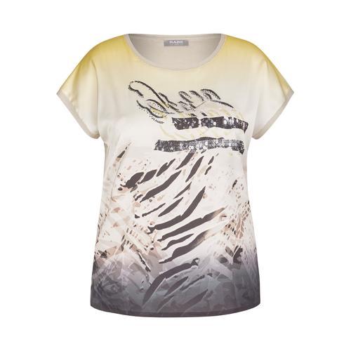 Rabe Paillettenshirt, mit exotischem Front-Print und Pailletten beige Damen Jersey Shirts Sweatshirts Paillettenshirt