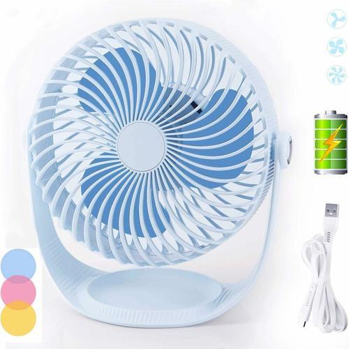 Bares - Table Fan Small Quiet USB Fans Desk Fan Battery Operated Mini Fan Portable Fan 360°