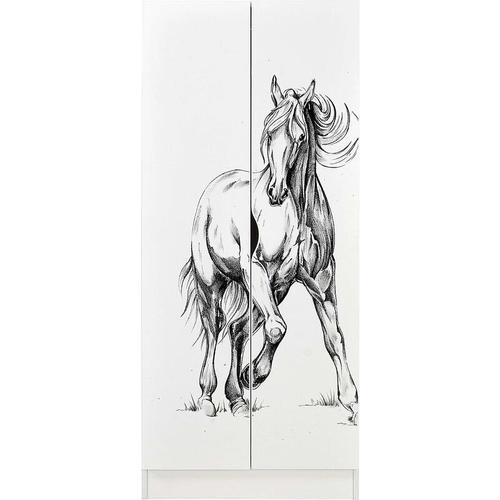 Leomark - Weiß zweitüriger Kleiderschrank - Roma - Möbel für Kinder, UV-Druck: Pferd im Galopp