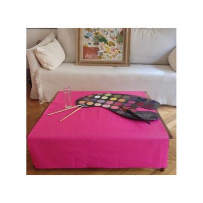 Nappe enduite rectangle 160 x 300 cm rose