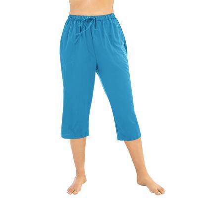 Plus Size Women's Taslon Capri Coverup Pant by Swim 365 in Blue Sea (Size 30/32)