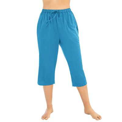Plus Size Women's Taslon Capri Coverup Pant by Swim 365 in Blue Sea (Size 18/20)