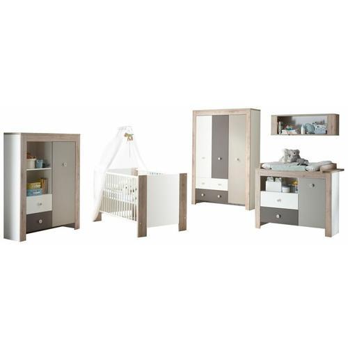 Babyzimmer Bea 5-teilig Babybett + Wickelkommode + Kleiderschrank + Beistellschrank weiß - braun