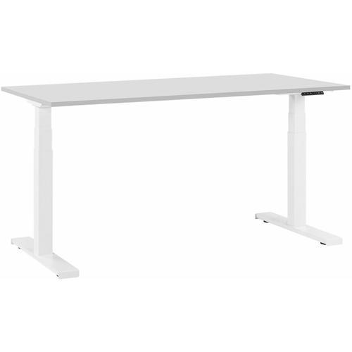 Beliani - Schreibtisch Grau mit Weiß 160 x 72 cm aus Spanplatte und Stahl Elektrisch