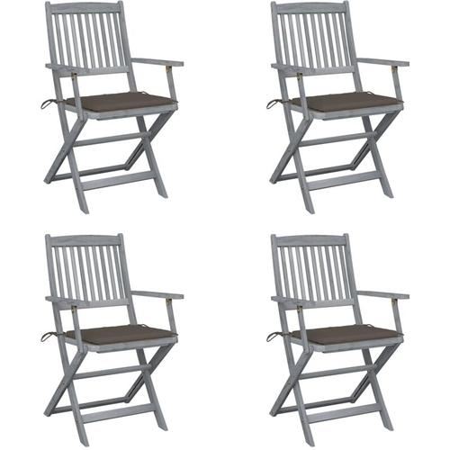 Klappbare Gartenstühle 4 Stk. mit Sitzkissen Massivholz Akazie