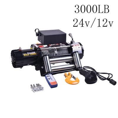 Treuil électrique 12V/24V, 1360 lb, tout-terrain, robuste, remorque de voiture, ATV, télécommande,