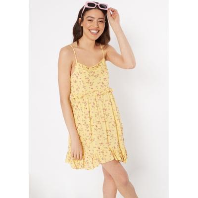 Rue21 Womens Yellow Ditsy Floral Ruffle Trim Dress - Size M