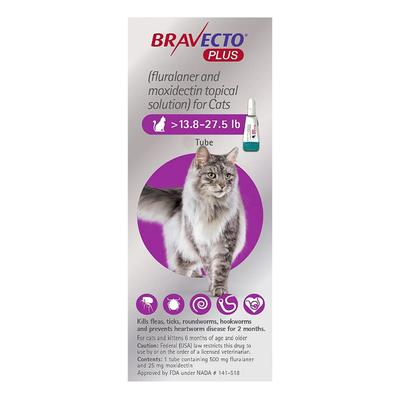 Bravecto Plus For Large Cats 500 Mg (13.75 To 27.5 Lbs) Purple 3 Doses