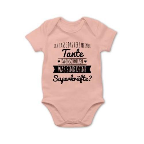 Statement Sprüche Baby Tante Herz dahinschmelzen Bodys Kinder hellrosa Baby