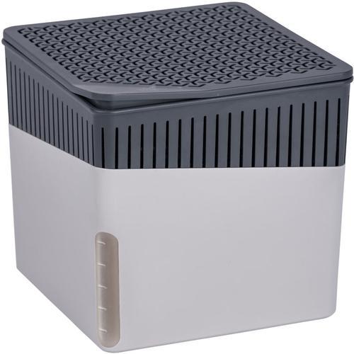 Raumentfeuchter Cube Grau 1000 g, 2er Set - Gehäuse: Hellgrau, Calciumchlorid: Weiß, Korb: