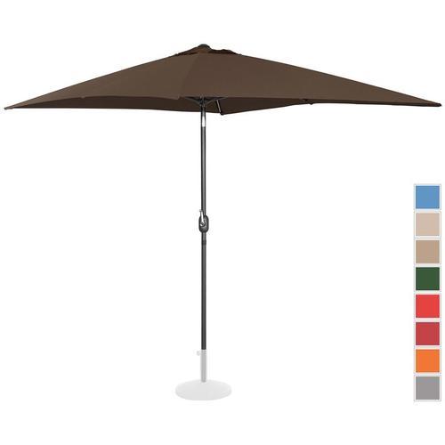 Sonnenschirm groß Gartenschirm (rechteckig, 200 x 300 cm, neigbar, braun) - Uniprodo