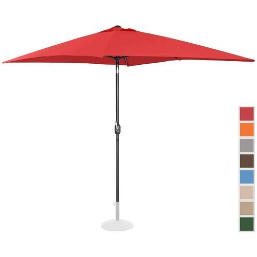Sonnenschirm groß Gartenschirm (rechteckig, 200 x 300 cm, neigbar, rot) - Uniprodo