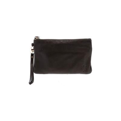 Handbag Butler Leather Wristlet: Gray Solid Bags