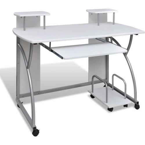 Topdeal - Computertisch PC Tisch Mobiler Computerwagen Bürotisch Laptop weiß 07403