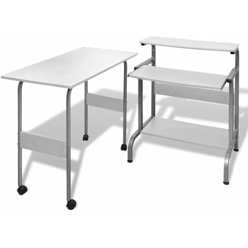 Computertisch Schreibtisch Computerwagen PC Tisch Bürotisch weiß 07409