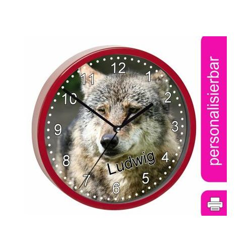 Kinder Wanduhr personalisiert mit Name Wolf rot