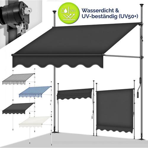 tillvex Balkonmarkise 300 cm Blau/Weiß Gelenkarm Markise Klemmmarkise Sonnenmarkise Balkon ohne