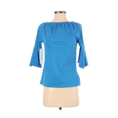 Workshop Republic Clothing - Workshop Republic Clothing Long Sleeve T-Shirt: Blue Solid Tops - Size Medium