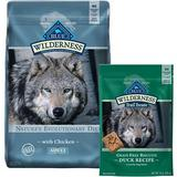 Blue Buffalo Wilderness Chicken Recipe Grain-Free Dry Food + Trail Treats Grain-Free Duck Biscuits Dog Treats