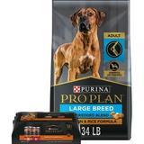 Purina Pro Plan Adult Large Breed Shredded Blend Chicken & Rice Formula Dry Food + Savor Canned Dog Food