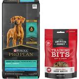 Purina Pro Plan Puppy Large Breed Chicken & Rice Formula with Probiotics Dry Food + American Journey Beef Recipe Grain-Free Soft & Chewy Training Bits Dog Treats